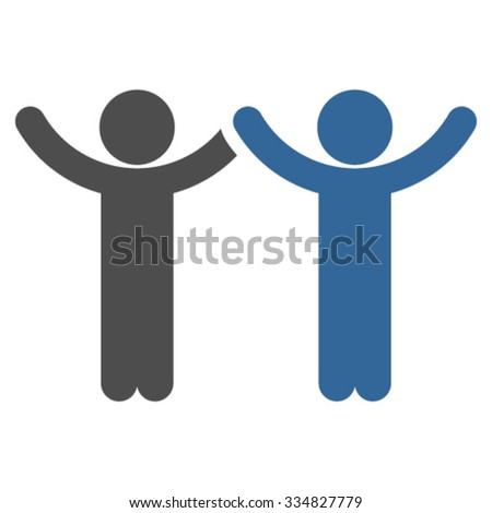 Hands Up Guys vector icon. Style is bicolor flat symbol, cobalt and gray colors, rounded angles, white background.