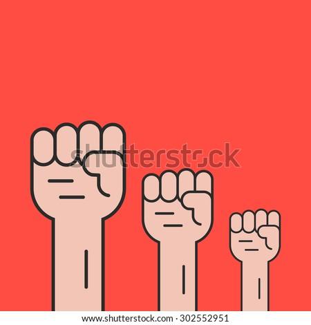 hands up like revolution protest. concept of communism, socialism, soviet, radical, patriotic, solidarity, uprising. isolated on red background. flat style trend modern logo design vector illustration - stock vector