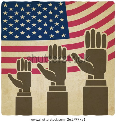 hands up on American flag old background - vector illustration. eps 10 - stock vector
