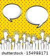 hands up over dotted background vector illustration - stock vector