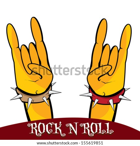 hands up showing rock sign. vector sign of rock n roll music and lifestyle.