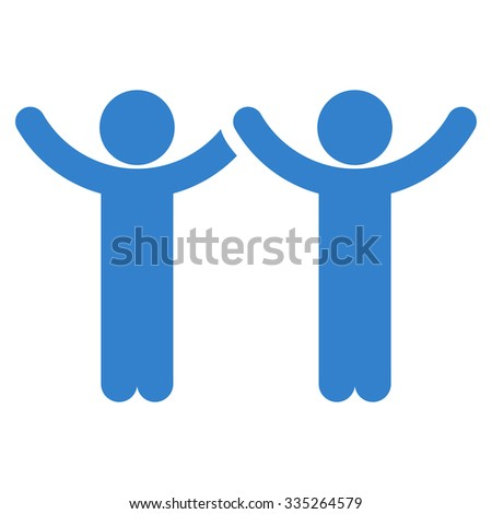 Hands Up Users vector icon. Style is flat symbol, cobalt color, rounded angles, white background.