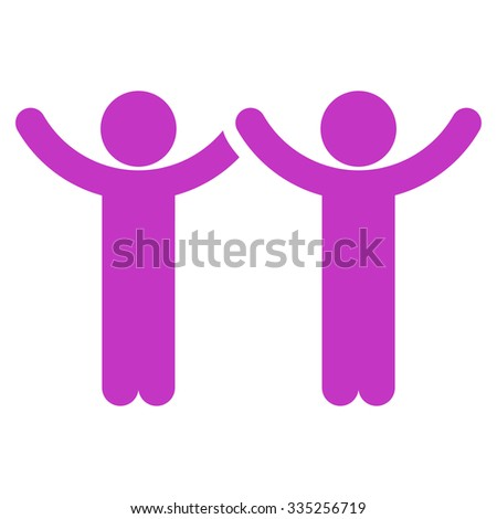 Hands Up Users vector icon. Style is flat symbol, violet color, rounded angles, white background.