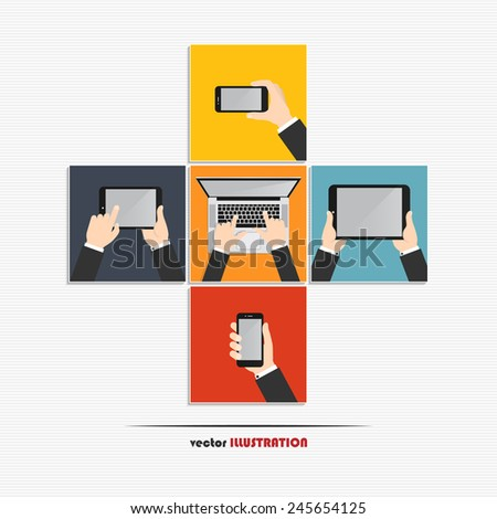 Hands using various modern technology devices. Laptop, digital tablet and smartphone - stock vector