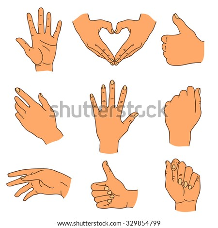 Hands. Vector icons, hand-drawn.