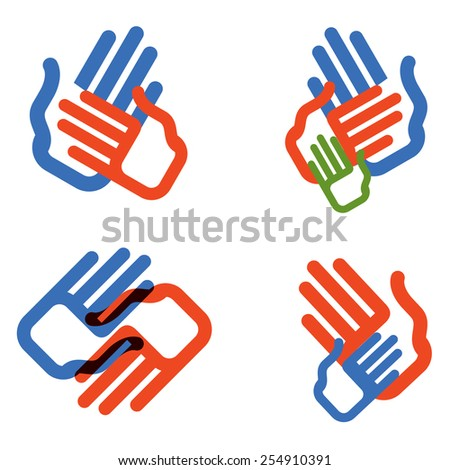 hands vector logo design template. people, family or charity icon. - stock vector