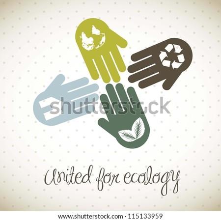hands vintage concept, united for ecology. vector illustration - stock vector