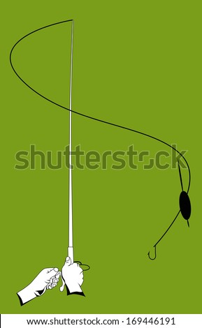 Hands with a fishing rod. vector illustration