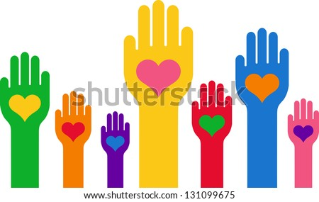 Hands with a heart in the middle of the palm - stock vector