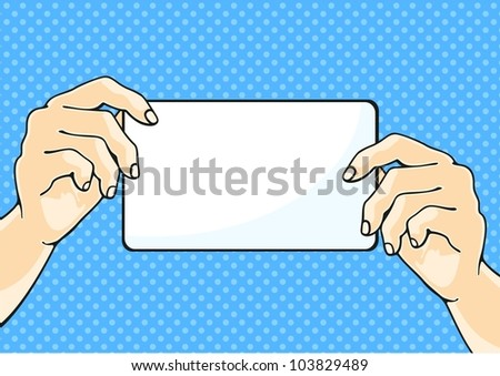 Hands with a paper sheet - stock vector