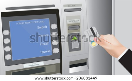 Hands with credit card and ATM - stock vector