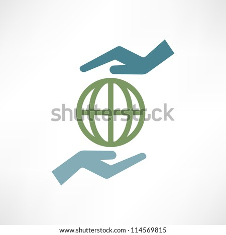 Hands with earth - stock vector