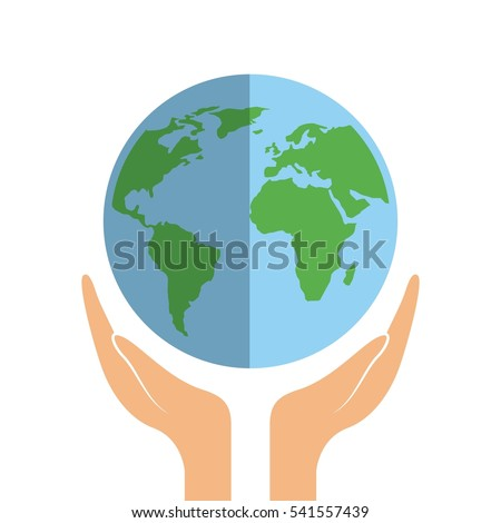 hands with earth planet icon over white background. colorful design. vector illustration