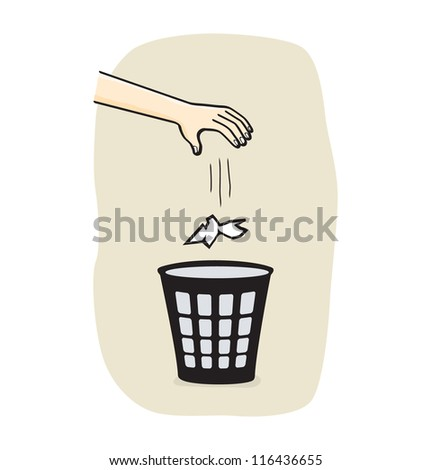 Hands with garbage bin with paper - stock vector