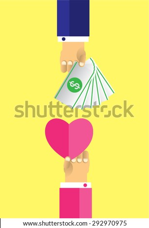Hands with heart and money dollar coin. Exchanging concept. Flat design style. Vector illustration. Exchange between heart and money - stock vector