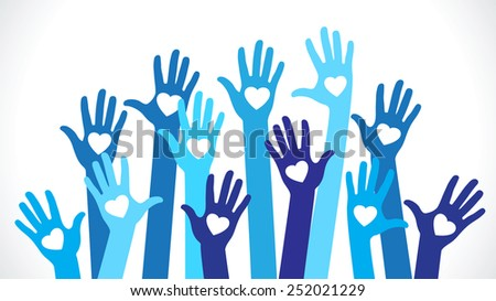Hands with hearts. Silhouette of the human hand with icons of hearts - stock vector