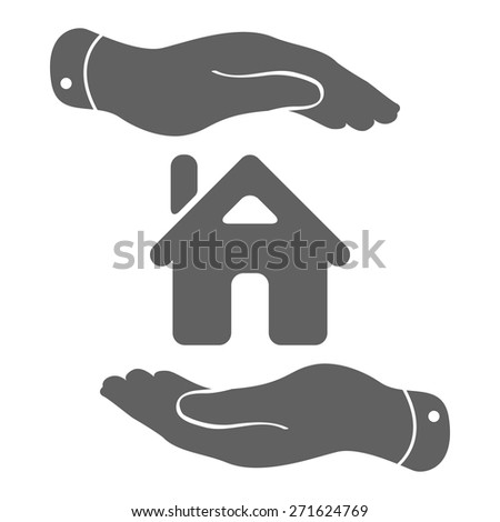 hands with home icon - protecting house vector illustration - stock vector
