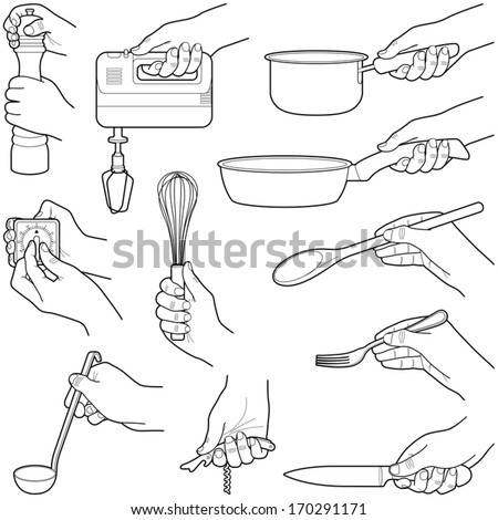 Hands with kitchen tools collection - vector illustration
