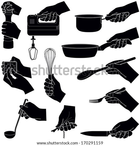 Hands with kitchen tools collection - vector silhouette illustration - stock vector