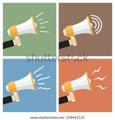 Hands with megaphones, flat design, vector eps10 illustration - stock vector