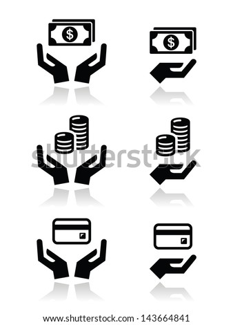 Hands with money vector icons set - stock vector
