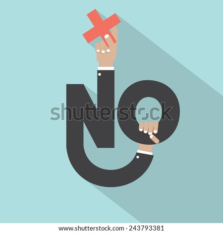 Hands With Negative Sign Typography Design Vector Illustration - stock vector