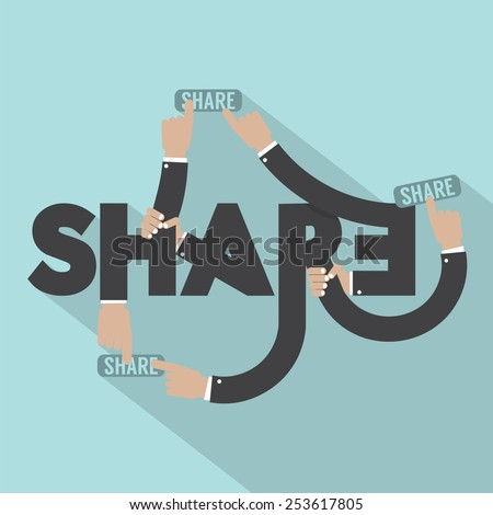 Hands With Share Typography Design Vector Illustration - stock vector