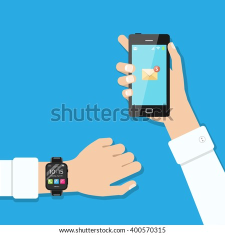 Hands with smart phone and smart wristwatch. Modern technology, connection, communication. Flat illustration style. Vector illustration.