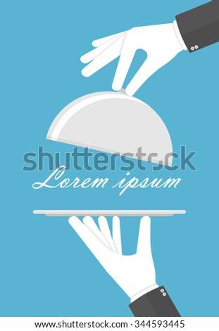 Hands with white gloves holding empty silver tray and cloche. Flat style - stock vector