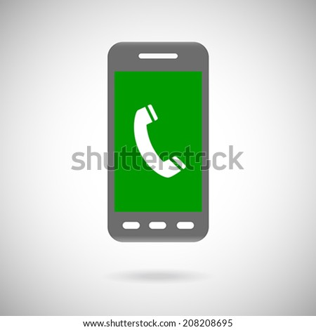 Handset sign in phone Icon Symbol. Flat Design collection. Vector illustration - stock vector