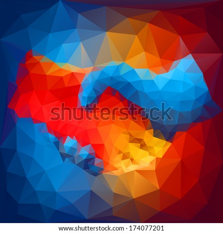 Handshake abstract art - stock vector