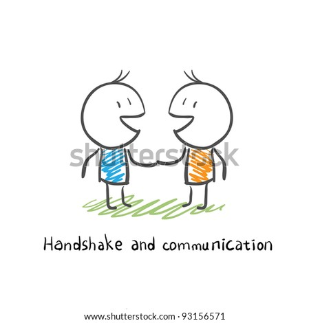 handshake and communication - stock vector