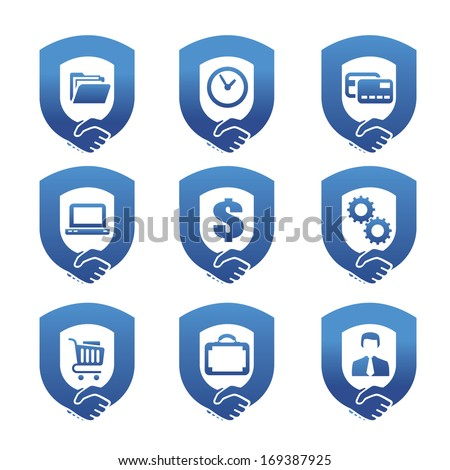 Handshake and symbols of business - stock vector