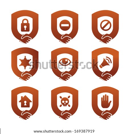 Handshake and symbols of security - stock vector