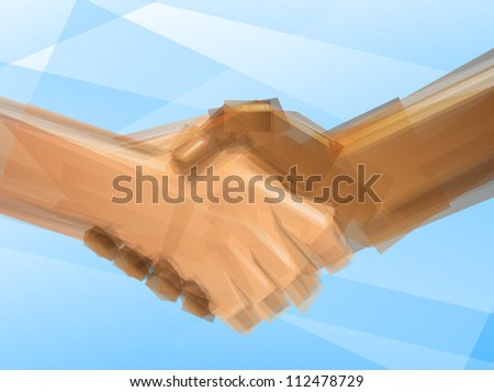 Handshake Business Deal/Artistic Abstract Concept - stock vector