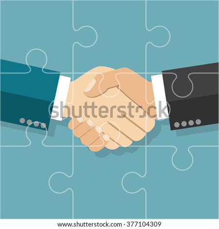 Handshake businessman agreement. Vector illustration flat style. shaking hands. Symbol of a successful transaction. Partnership puzzle. Partnership concept. - stock vector