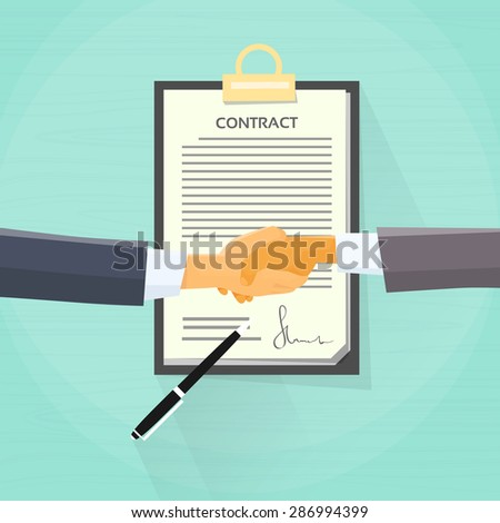 Handshake Businessman Contract Sign Up Paper Document, Business Man Hands Shake Pen Signature Office Desk Flat Vector Illustration - stock vector