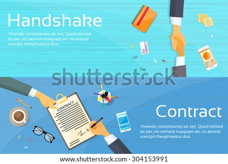 Handshake Businessman Contract Sign Up Paper Document, Business Man Hands Shake Pen Signature Office Desk Web Banner Flat Vector Illustration - stock vector