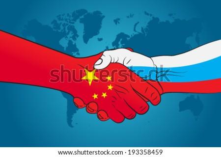 Handshake China and Russia - stock vector