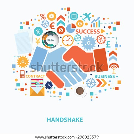 Handshake concept design on white background,clean vector - stock vector