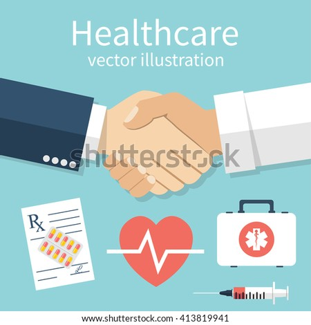 Handshake doctor and patient, vector illustration. Concept healthcare. Medical background. Set icons of medical equipment. Doctor and patient shaking hands isolated on background. - stock vector