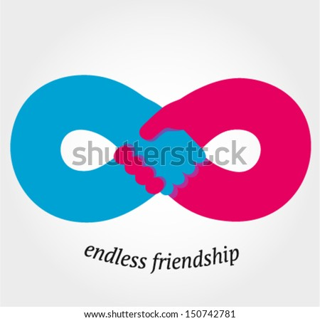Handshake endless friendship and partnership concept, vector illustration - stock vector