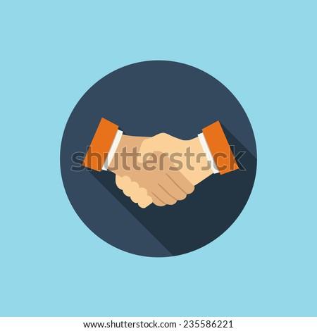 handshake flat style icon - stock vector