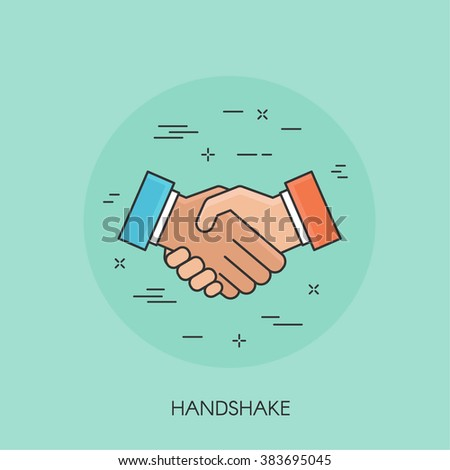 Handshake flat style thin line colorful icon - stock vector