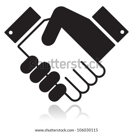 Handshake glossy black icon - stock vector