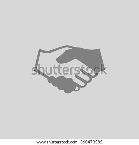 handshake - Grey flat icon on gray background - stock vector