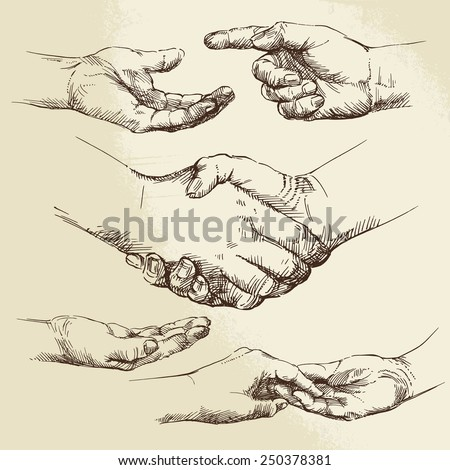 handshake - hand drawn collection - stock vector