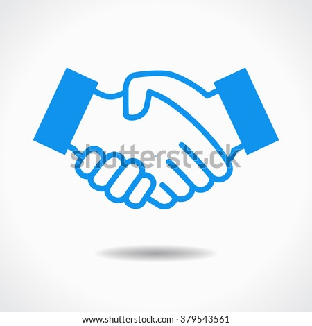 Handshake icon. Blue icon on white background. The file is saved in the version 10 EPS. This image contains transparency.
