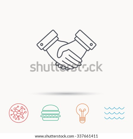 Handshake icon. Deal agreement sign. Business partnership symbol. Global connect network, ocean wave and burger icons. Lightbulb lamp symbol. - stock vector