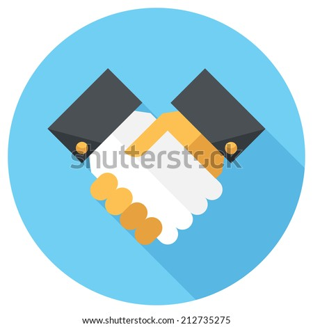 Handshake icon. Flat design style modern vector illustration. Isolated on stylish color background. Flat long shadow icon. Elements in flat design. - stock vector